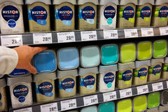 Paint department of a Hardware store. THE NETHERLANDS - OCTOBER 2015: Histor paints is a trademark of PPG, an American Fortune 500 company and global supplier of Royalty Free Stock Photos
