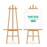Paint Desk Vector. Artist Easel Set With White Paper. Isolated On White Background. Realistic Painter Desk Blank Canvas On paintin. Paint Desk Vector. Artist Royalty Free Stock Photo