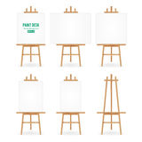 Paint Desk Vector. Artist Easel Set With White Paper. Isolated On White Background. Realistic Painter Desk Blank Canvas On paintin Royalty Free Stock Photo