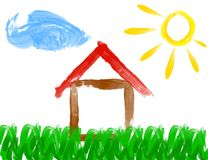 Paint drawing of house and sun - made by child Stock Images