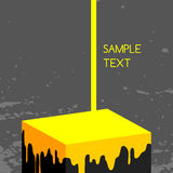 Paint dripping. Yellow paint dripping, flowing on 3d cube, art background Royalty Free Stock Images