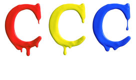 Paint dripping alphabet. With 3 different variations in red, yellow, and blue Stock Photos