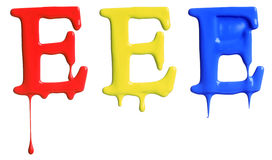 Paint dripping alphabet. With 3 different variations in red, yellow, and blue Stock Photo