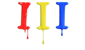 Paint dripping alphabet. With 3 different variations in red, yellow, and blue Royalty Free Stock Images