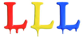 Paint dripping alphabet. With 3 different variations in red, yellow, and blue Royalty Free Stock Photo