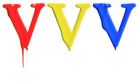 Paint dripping alphabet. With 3 different variations in red, yellow, and blue Stock Image