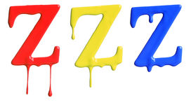 Paint dripping alphabet. With 3 different variations in red, yellow, and blue Royalty Free Stock Photos