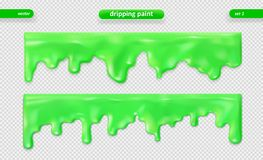 Paint dripping. Glossy surface. Vector set. Eps 10 stock illustration