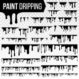 Paint Dripping Liquid Set Vector. Abstract Ink, Paint Splash. Various Blood Splatters. Chocolate, Syrup Leaking. Flows. Grunge. Isolated Illustration stock illustration