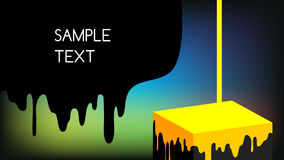 Paint dripping. Yellow paint dripping, flowing on 3d cube, art background. Ink dripping, leaking on colorful background Royalty Free Stock Photography