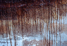 Paint drips. Textured paint drips on the wall background. Runnels of brown paint dripping down on the rough wall Stock Photography