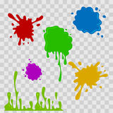 Paint drop abstract illustration. Multicolor splashes on checkered transparent background. Flat style. Vector set. Royalty Free Stock Image