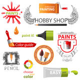 Paint embems. Colorful paint icons and emblems Stock Photos