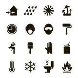Paint or enamel features and safety icons set -usage,  health, safety and environmental information Royalty Free Stock Images