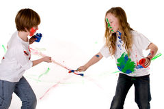 Paint fight royalty free stock images