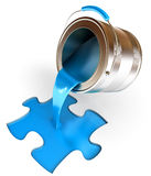 Paint fill container in form of puzzle Royalty Free Stock Images