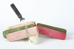 Paint filled rollers Royalty Free Stock Photography