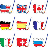 Paint flags. Of countries, layered and grouped illustration for easy editing Stock Image