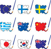Paint flags 2. Paint flags of countries, layered and grouped illustration for easy editing Royalty Free Stock Photo
