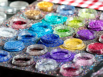 Paint with glitter and gloss for body puposes Royalty Free Stock Photos