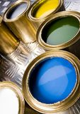Paint and gold cans Royalty Free Stock Image
