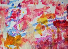 Paint gold orange pink pastel forms, abstract pastel hues. Watercolor painting violet red orange yellow white blue forms and paint spots in pastel hues are royalty free stock photos