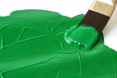 Paint it Green. Artist's paintbrush brushing green paint over white surface Stock Photos