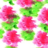 Paint green, pink splash ink blot and white abstract art brushe. S isolated Royalty Free Illustration