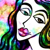 Paint Grunge Female Face Portrait. Colorful grunge portrait of a woman`s face with a forlorn expression Stock Photos