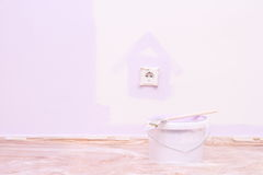 Paint house wall in lilac color Stock Image