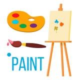 Paint Icon Vector. Art Brush. Isolated Flat Cartoon Illustration stock illustration