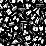 Paint icons black and white seamless pattern Stock Photos