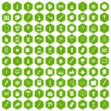 100 paint icons hexagon green. 100 paint icons set in green hexagon isolated vector illustration Stock Photo