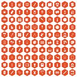 100 paint icons hexagon orange. 100 paint icons set in orange hexagon isolated vector illustration Vector Illustration