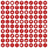 100 paint icons hexagon red. 100 paint icons set in red hexagon isolated vector illustration Stock Photography