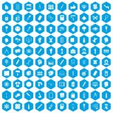 100 paint icons set blue. 100 paint icons set in blue hexagon isolated vector illustration Royalty Free Illustration