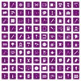 100 paint icons set grunge purple. 100 paint icons set in grunge style purple color isolated on white background vector illustration Royalty Free Illustration