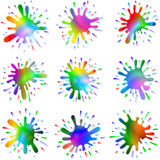 Paint Ink Blots Splashes Set Stock Images