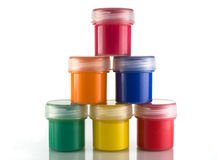 Paint in jars Royalty Free Stock Photos