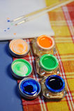 Paint in jars Stock Photos