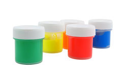 Paint in jars isolated Stock Image