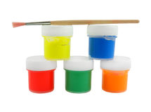 Paint in jars with paintbrush isolated Royalty Free Stock Photos