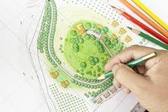 Paint the landscape design plan Stock Photos