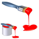 Paint for love. Paintbrushes dripping paint in different shape vector illustration