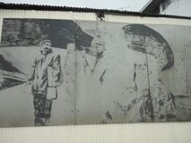 Paint of men in tierra del fuego Royalty Free Stock Photo