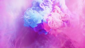 Paint mix water pink blue fume cloud floating