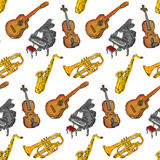 Paint Musical Instruments Seamless Pattern. Art Royalty Free Stock Photos