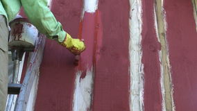 Paint new farm barn wooden wall with paintbrush stock footage