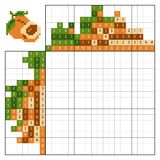 Paint by number puzzle nonogram, Apricot. Paint by number puzzle nonogram, education game for children, Apricot Royalty Free Stock Photography