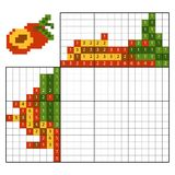 Paint by number puzzle nonogram, Apricot. Paint by number puzzle nonogram, education game for children, Apricot Stock Photos